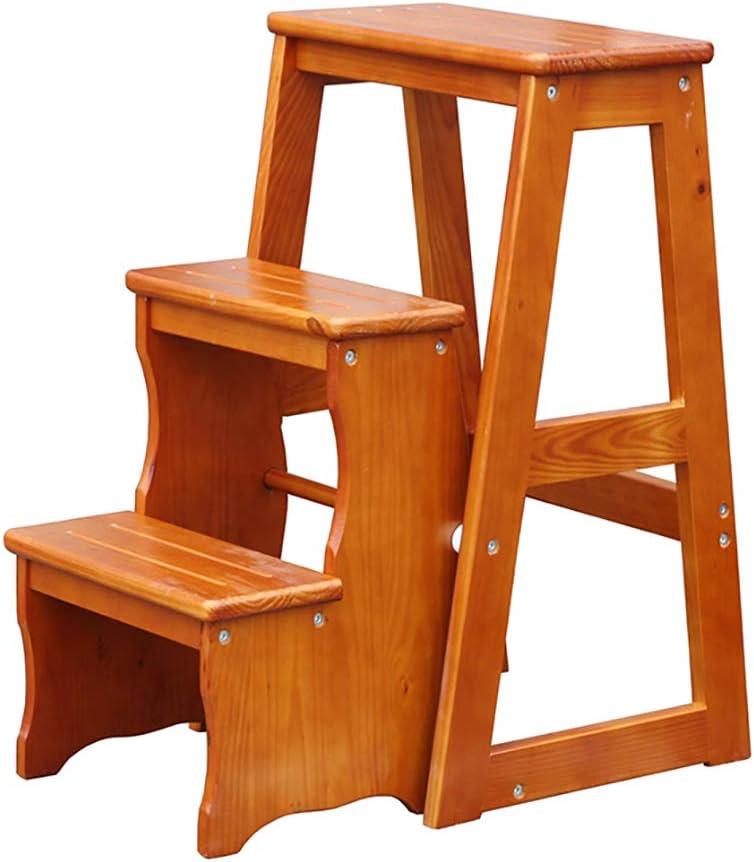 Taburete de escalera de madera maciza, Silla de escalera de biblioteca multifuncional Taburete de 3 escalones, Taburete de escalera de transformación creativa Oficina en el hogar Estante de almacena