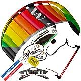 HQ Symphony Pro 2.2 Kite Rainbow w Control Bar Bundle (4 Items) + Peter Lynn 2-Line Control Bar w Safety Leash + WindBone Kiteboarding Lifestyle Stickers +WBK Key Chain – Kiteboarding Trainer Kite Kit