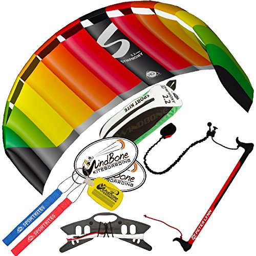 HQ Symphony Pro 2.2 Kite Rainbow w Control Bar Bundle (4 Items) + Peter Lynn 2-Line Control Bar w Safety Leash + WindBone Kiteboarding Lifestyle Stickers +WBK Key Chain – Kiteboarding Trainer Kite Kit by HQ Power Kites, Peter Lynn, WindBone