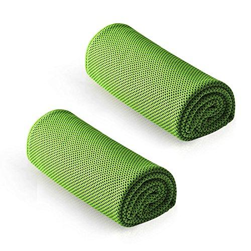 [해외][LivelyLife] 냉각 수건 차가운 수건 속 건 경량 서 늘 타 올 2 매 세트 스포츠 수건 아이스 타월 야외 일사병 방지 (그린) / [Livelylife] Cooling towel cool towel quick drying lightweight cool towel set sports towel ice towel outdoor heat...