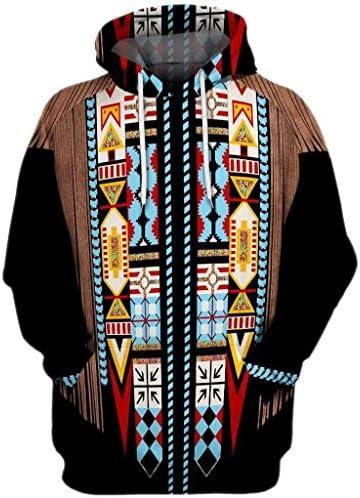 [해외]Opinionated Mens 3D Vintage Ethnic Style Print Hooded Long Sleeve Hoodie Blouse Sweatshirt Indian Style / Opinionated Mens 3D Vintage Ethnic Style Print Hooded Long Sleeve Hoodie Blouse Sweatshirt Indian Style