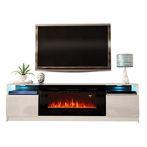 MEBLE FURNITURE RUGS York 02 Electric Fireplace Modern 79 TV Stand