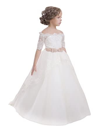 1aa9ea13946 princhar Tulle Flower Girl Dress Wedding Party Girl Dresses Toddler Dress  US 2T Ivory