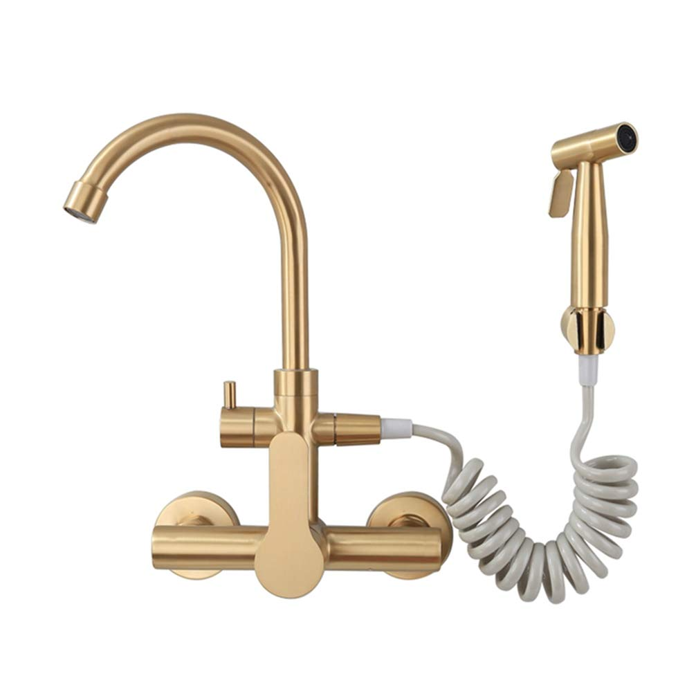 FZHLR Wall Mounted Champagne Bronze Stainless Steel Kitchen Faucet With Bidet Spray Shower Head,Rotatable,Cold And Hot Mixer Water Faucet Brushed Gold