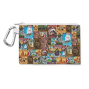 Frontierland Disney Inspired Canvas Zip Pouch - 2XL Canvas Pouch 13x10 inch - Multi Purpose Pencil Case Bag