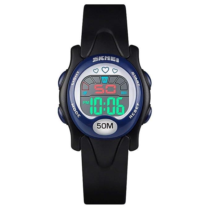 LONGQI - Reloj de Pulsera Digital para niños, Resistente al Agua, con Alarma, cronómetro Luminoso para niños y niñas: Amazon.es: Relojes