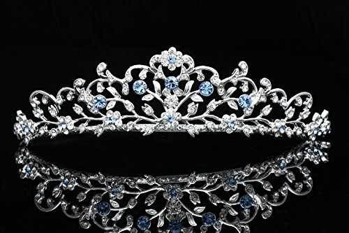 Venus Jewelry Flower Vine Design Bridal Tiara Crown - Blue Crystals Silver Plating (T797)