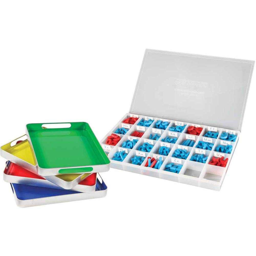 Really Good Stuff MAGtivity Tins and Magnetic Letters Classroom Kit - Make Spelling, Phonics and The Alphabet Fun and Interactive - Includes Magnetic Letters, Storage Case, Trays by Really Good Stuff