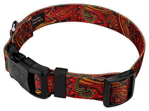 Image of Country Brook Petz   Fire Paisley Deluxe Dog Collar (Large)