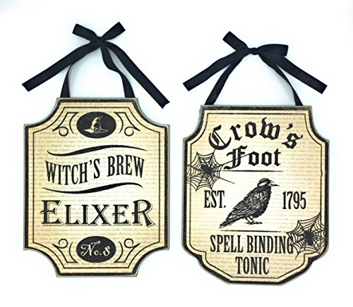 Halloween Wood Wall Sign Hanging Door Decoration Witches Brew Elixir and Crows Foot Spell Binding Tonic Set of 2 (Halloween Witch Spells)