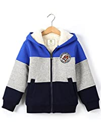 Bumeex Little Big Boys Sherpa Fleece Lined Zip up Hoodie Jacket for 2-14years