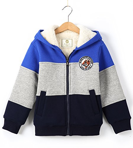 Bumeex Boys Sherpa Fleece Lined Jacket Warm Sweatshirt Hoodie(3-10years 5-6years(120), (Boys Hooded Fleece Jacket)