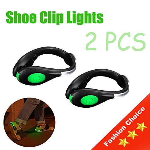 Chiyou LED Safety Lights for Runners, Reflective Shoe Clip Lights Gear with 2 Modes for Night Running Hiking Biking 2pcs