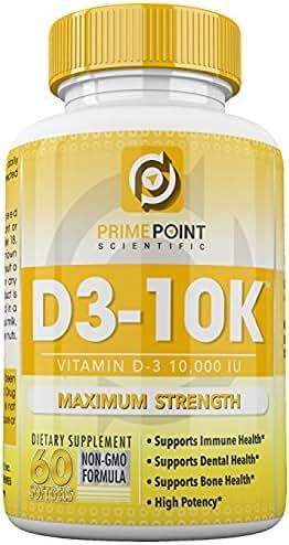 D3-10K Maximum Strength Vitamin D3 10,000 iu supports: Bone Health, Dental Health and Immune Health 60 Softgels 2 Month Supply Great Value