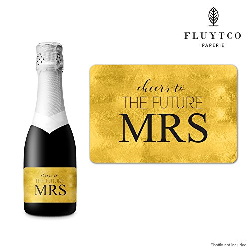 FUTURE MRS - Gold Foil - Set of 20 Bachelorette Label Stickers for Mini Champagne Bottle & Gift Box - Bridesmaid, Maid & Matron of Honor Proposal Gift- Engagement Party- Bridal Shower (Set Of 20 Champagne Glasses)