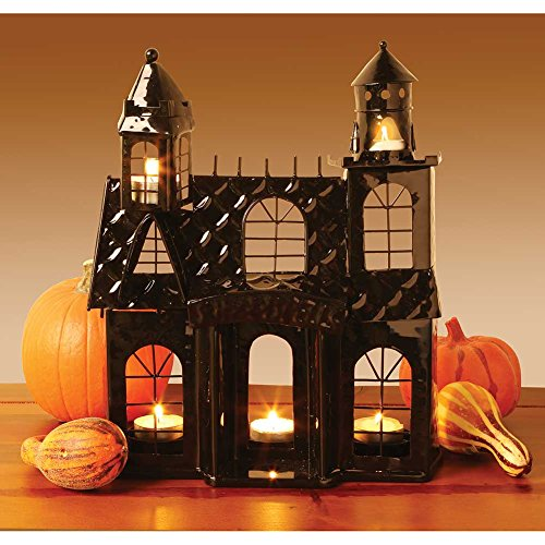 Haunted House Votive Candle Holder - Black Metal (Haunted House Prop Ideas)
