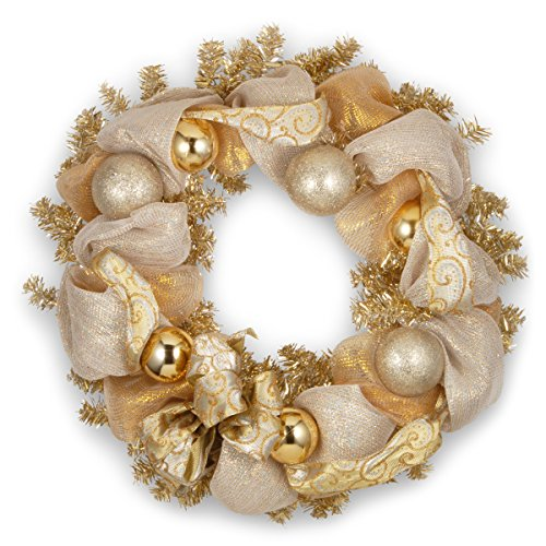 Gold Christmas Wreath (National Tree 27 Inch Christmas Wreath with Ornaments and Gold Lace (RAC-ZF01430A-1))