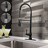Oil Rubbed Bronze Kitchen Faucet VAPSINT Modern One Handle Single Lever Spring Sprayer Pull Down Stainless Steel Pre Rinse Pull Out Oil Rubbed Bronze Kitchen Faucet, Commercial Bronze Kitchen Sink Faucet
