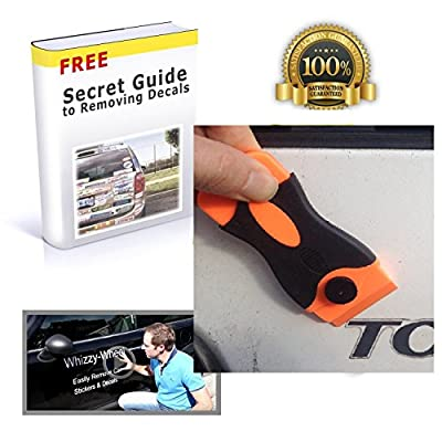 Car Scraper Plastic Blade to Remove Stickers and Decal, with 20 Plastic Razor Blade Edges (10 Double Sided Blades) from Whizzy Wheel