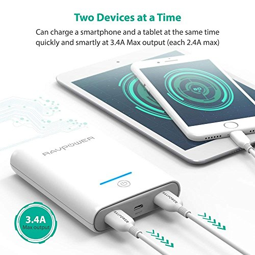 Portable Charger RAVPower 10000mAh Power Banks, Ultra-Compact 10000 Battery Pack with 3.4A Output, Dual iSmart 2.0 USB Ports, Portable Phone Charger for iPhone, iPad and More (White) by RAVPower (Image #4)