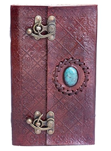 TOL Large Leather Journal Turquoise Stone Design Gift Book Diary Journal Christmas Book 9x5