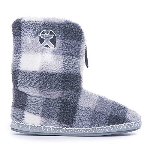 Chambre athlétisme-McQueen-Chaussons-bottes en polaire Motif à carreaux Gris