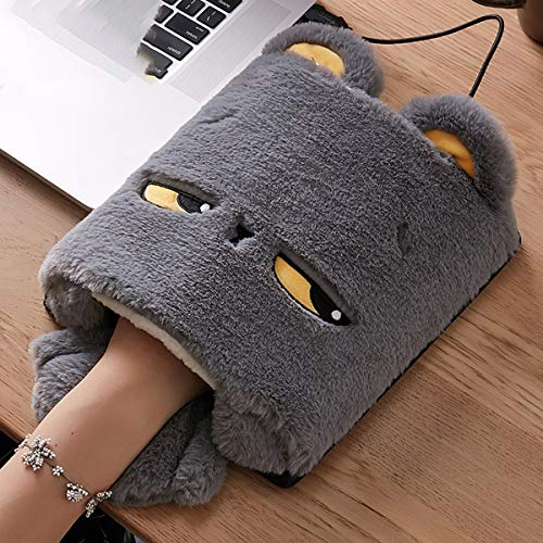 Fad-J Cartoon USB Hand Warmer Mouse pad, Oversized Fever Mouse pad, Wristband Winter Cute Warm Heating Set, Computer Hand Warmer Small Bunny Style Mouse pad,Darkgray