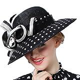 Koola's Sinamay Women's Hats Black white Point Color Ribbon Linen Hat Summer Sun Hats Church Hats