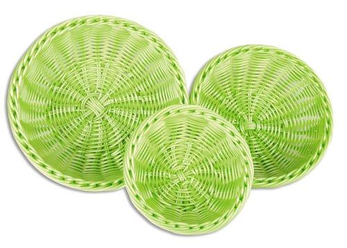 Dinner Basket - Colorbasket 51101-202 Hand Woven Waterproof Bowl Food Basket, BPA Free, Lime Green, Gift Box, Set of 3