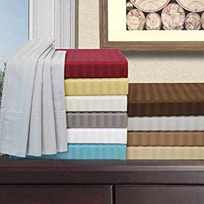 Impressions Egyptian Cotton 650 Thread Count California King Sheet Set, Deep Pocket, Single Ply, Stripe