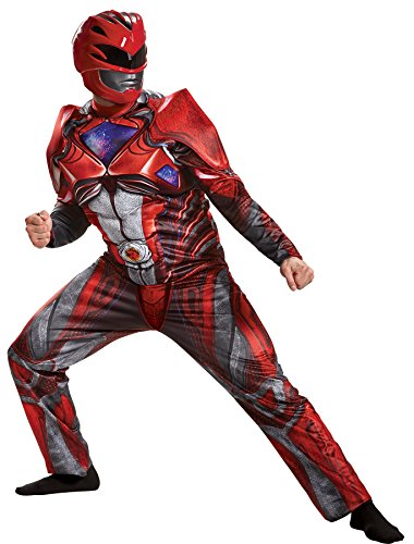 UHC Men's Red Power Ranger Jumpsuit w/ Muscle Torso & Mask Halloween Costume, (42-46) (Covers Ranger Red Boot)