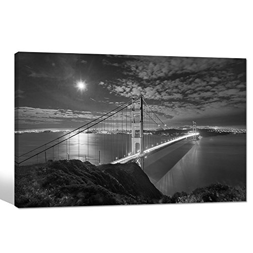 Sea Charm- Modern Giclee Prints Framed Artwork Black and White Los Angeles Golden Gate Bridge Picture Print to Photo Printed Paintings Canvas Wall Art Decor for Home Walls Decorations,24 x36 inches