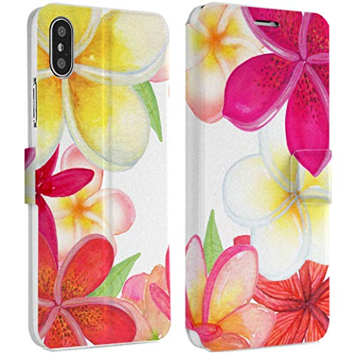 Wonder Wild Plumeria Flowers IPhone Wallet Case X/Xs Xs Max Xr 7/8 Plus 6/6s Plus Card Holder Accessories Smart Flip Hard Design Protection Cover Girly Floral Bright Tropical Thailand Bouquet - Plumeria Clasp