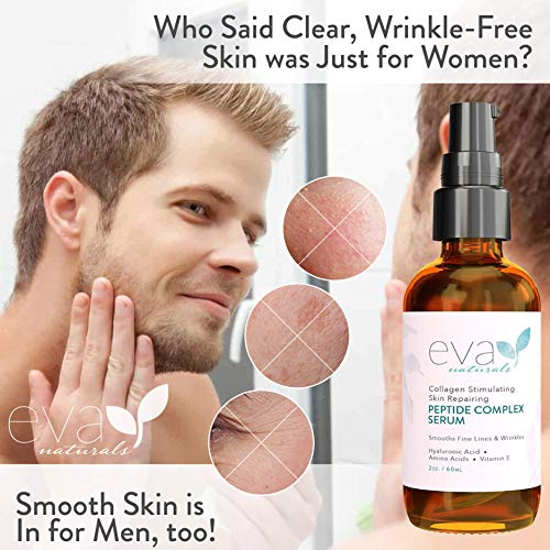 Peptide Complex Serum via Eva Naturals (2 oz.) - Best Anti-Aging Face Serum Reduces Wrinkles and Boosts Collagen - Heals and Repairs Skin whilst Improving Tone and Texture - Hyaluronic Acid & Vitamin E
