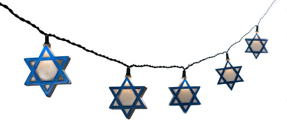 Kurt Adler UL 10-Light Hanukkah Star of David Light Set
