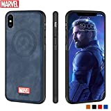 Marvel Avengers iPhone Leather Case Protective Cell Phone Case for iPhone X/XS Marvel Avengers Comic Super Hero Inspired Series 3D Premium Scratch-Resistant (Captain America)