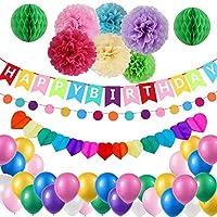 Colorful Birthday Decorations,Happy Birthday Banner,Hanging Swirl Birthday Paper Pom Poms for Birthday Party Decorations kids birthday party by Hulaso