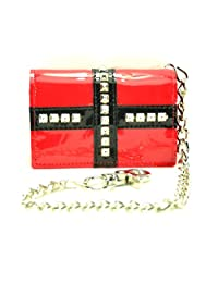 """Stud Cross Patent Leather Tri-fold Bikers Wallet with 16"""" Chain Black"""