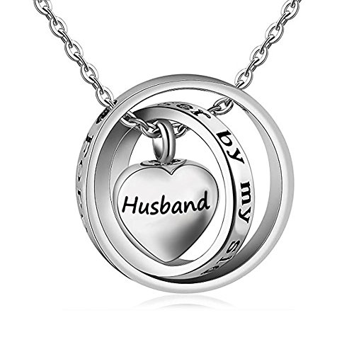 JewelryJo Husband No Longer by My Side Forever in My Heart Cross Rings Love Heart Urn Necklace for Ash Cremation Memorial Keepsake