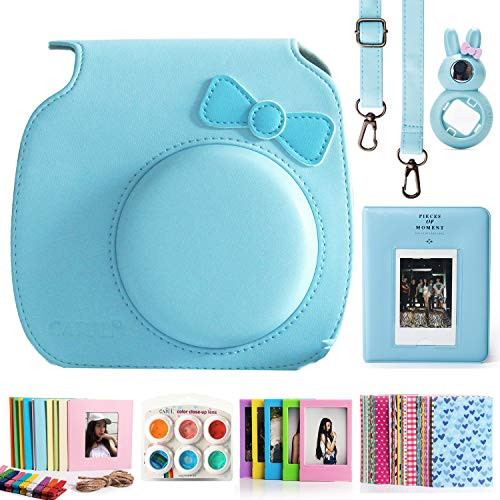 CAIUL Compatible Fujifilm Instax Mini 9 Film Camera Bundle with Case, Album, Filters Other Accessories for Fujifilm Instax Mini 9 8 8+ (Bow Blue, 7 Items)