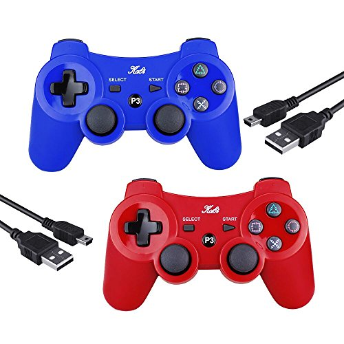 (PS3 Controller Wireless Joystick Game Controller 2 Pack with Dual Shock and Free Charger Cable Compatible with Playstation 3 PS3 (Red+Blue))