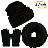 Aneco Winter Warm Knitted Scarf Beanie Hat and Gloves Set Men & Women's Soft Stretch Hat Scarf and Mitten Set (Black)