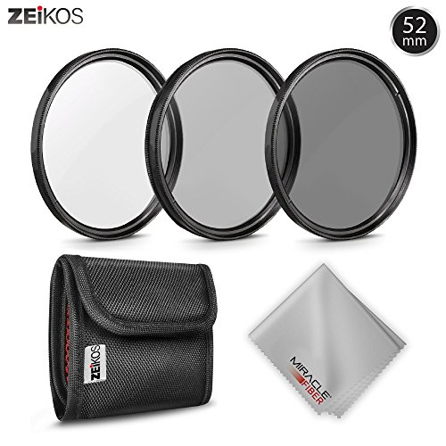 52MM Zeikos Neutral Density Professional Photography Filter Set (ND2 ND4 ND8) + MiracleFiber Microfiber Cleaning Cloth + Filter Pouch (52MM