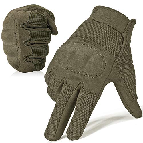 WTACTFUL Military Shooting Hard Knuckle Tactical Gloves for Airsoft Paintball Motorcycle Cycling Riding Hunting Hiking Army Combat Touch Screen Full Finger Gloves Size Green Large B16
