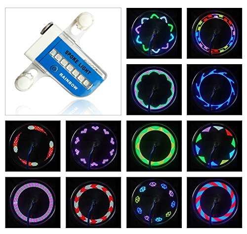AIKELIDA Bike Wheel Lights - Waterproof Ultra Bright 14 LED Bicycle Wheel Spoke Decorations Light - 30 Different Patterns Change - Colorful Bicycle Tire Accessories - Easy To Install - - Wheel Patterns Spoke