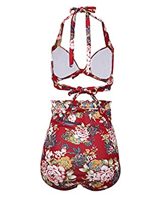 Tempt Me Women Vintage Floral Print High Waist Ruched Deep V Bikini Sets