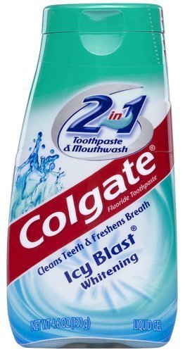 Colgate 2 in 1 Whitening Icy Blast Toothpaste & Mouthwash-4.6 oz, 4 pk