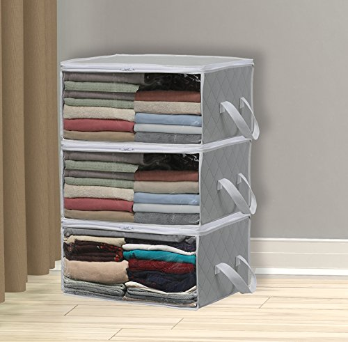 simple-houseware-3-pack-foldable-closet-organizer-clothing-storage-box-with-clear-window-grey
