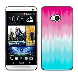 FECELL CITY // Duro Aluminio Pegatina PC Caso decorativo Funda Carcasa de Protección para HTC One M7 // Pink Blur Blue Clean Abstract Paint