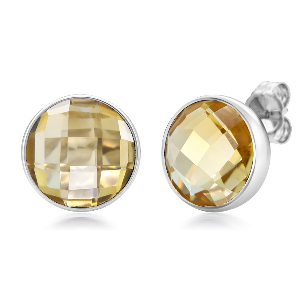 925 Sterling Silver Natural Citrine Stud Earrings 6.00 Cttw Round Checkerboard Style 8MM